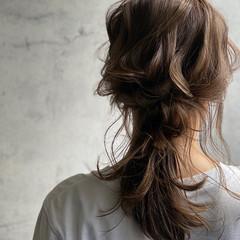 ナチュラル セルフヘアアレンジ 編みおろしヘア ポニーテール ヘアスタイルや髪型の写真・画像