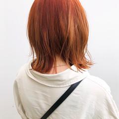 ストリート 外ハネ オレンジベージュ 切りっぱなしボブ ヘアスタイルや髪型の写真・画像