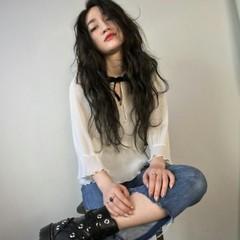 黒髪 モード ロング 外国人風 ヘアスタイルや髪型の写真・画像