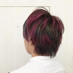 ショート ストリート ブルー ピンク ヘアスタイルや髪型の写真・画像
