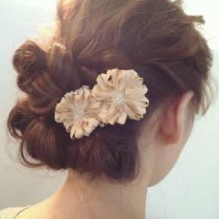 ショート フェミニン ルーズ ヘアアレンジ ヘアスタイルや髪型の写真・画像