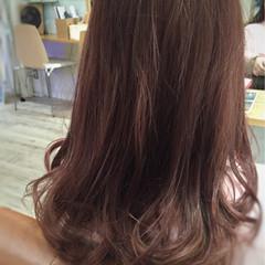 ガーリー 秋 セミロング レッド ヘアスタイルや髪型の写真・画像