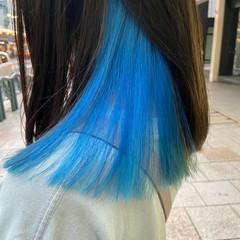 ネイビーブルー モード インナーカラー ブルー ヘアスタイルや髪型の写真・画像