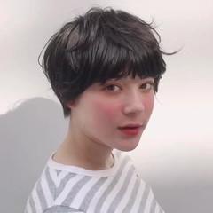 ミニボブ パーマ マッシュショート ショート ヘアスタイルや髪型の写真・画像