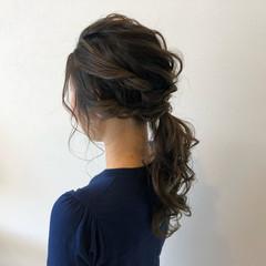 ナチュラル 簡単ヘアアレンジ セミロング 結婚式 ヘアスタイルや髪型の写真・画像