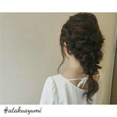 女子会 デート セミロング 結婚式 ヘアスタイルや髪型の写真・画像