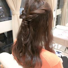 編み込み 簡単ヘアアレンジ セミロング ハーフアップ ヘアスタイルや髪型の写真・画像