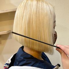 ボブ 切りっぱなしボブ ブロンド ナチュラル ヘアスタイルや髪型の写真・画像