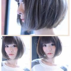 ボブ グラデーションカラー ナチュラル 丸顔 ヘアスタイルや髪型の写真・画像