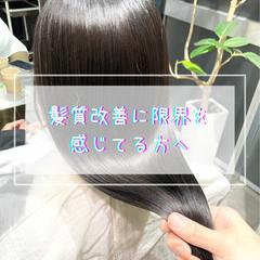 セミロング グレージュ ナチュラル 髪質改善 ヘアスタイルや髪型の写真・画像