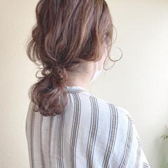 ゆるナチュラル ヘアアレンジ ゆる巻き セミロング ヘアスタイルや髪型の写真・画像
