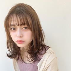 ナチュラル 簡単ヘアアレンジ ミディアム 毛先パーマ ヘアスタイルや髪型の写真・画像