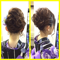 和装 夏 ヘアアレンジ セミロング ヘアスタイルや髪型の写真・画像