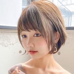 インナーカラー ショート ショートボブ 小顔ショート ヘアスタイルや髪型の写真・画像