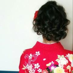 パーティ 和装 ミディアム 黒髪 ヘアスタイルや髪型の写真・画像