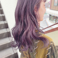 ブリーチカラー バイオレットカラー ラベンダーカラー セミロング ヘアスタイルや髪型の写真・画像