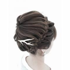 編み込み ヘアアレンジ ストリート ヘアスタイルや髪型の写真・画像
