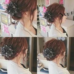 ヘアアレンジ ミディアム ゆるふわ 結婚式 ヘアスタイルや髪型の写真・画像