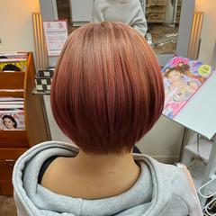 レッドブラウン レッドカラー ショート チェリーレッド ヘアスタイルや髪型の写真・画像