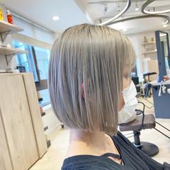 ボブ ハイトーンカラー ハイトーンボブ フェミニン ヘアスタイルや髪型の写真・画像