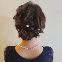 ヘアアレンジ 結婚式 結婚式ヘアアレンジ セミロング ヘアスタイルや髪型の写真・画像