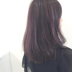 ピンクアッシュ 秋 パープル セミロング ヘアスタイルや髪型の写真・画像