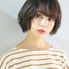 ショート パーマ 小顔ショート ナチュラル ヘアスタイルや髪型の写真・画像