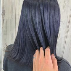 切りっぱなしボブ エレガント ミディアム ブルーバイオレット ヘアスタイルや髪型の写真・画像