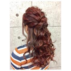 ヘアアレンジ 波ウェーブ ハーフアップ ロング ヘアスタイルや髪型の写真・画像
