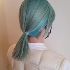 セミロング モード エメラルドグリーンカラー グリーン ヘアスタイルや髪型の写真・画像