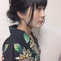 フェミニン 黒髪 ヘアアレンジ 浴衣ヘア ヘアスタイルや髪型の写真・画像
