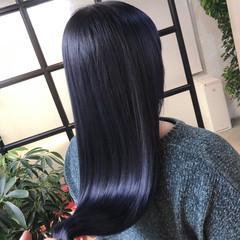 ネイビーカラー ネイビーブルー クールロング ロング ヘアスタイルや髪型の写真・画像