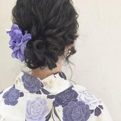 和装 黒髪 ヘアアレンジ 夏 ヘアスタイルや髪型の写真・画像