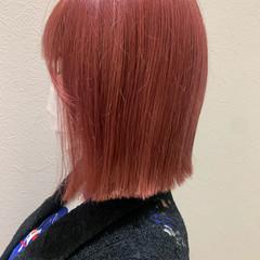 チェリーレッド ピンクカラー チェリーピンク ボブ ヘアスタイルや髪型の写真・画像
