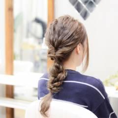 ヘアアレンジ 編み込み パーティ セミロング ヘアスタイルや髪型の写真・画像