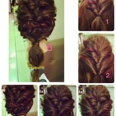 簡単ヘアアレンジ ローポニーテール ショート セミロング ヘアスタイルや髪型の写真・画像