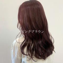 ブリーチなし セミロング ピンクブラウン ベリーピンク ヘアスタイルや髪型の写真・画像