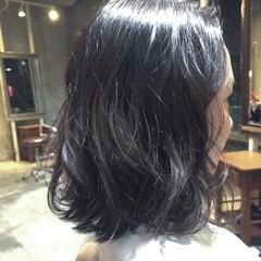 フェミニン 黒髪 アッシュ 大人かわいい ヘアスタイルや髪型の写真・画像