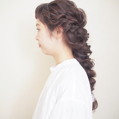 結婚式 ロング デート 前髪パッツン ヘアスタイルや髪型の写真・画像