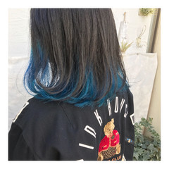 ボブ インナーブルー ロブ ストリート ヘアスタイルや髪型の写真・画像