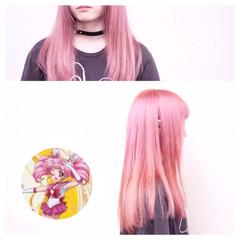 涼しげ ピンク ガーリー 個性的 ヘアスタイルや髪型の写真・画像