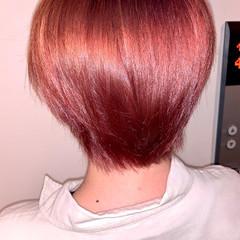 ピンクブラウン ショートヘア ショート ガーリー ヘアスタイルや髪型の写真・画像