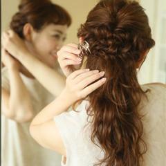 ロング ハーフアップ 夏 ゆるふわ ヘアスタイルや髪型の写真・画像