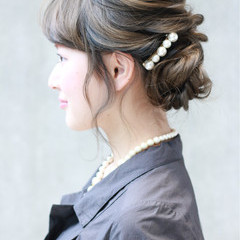 アッシュ フェミニン 簡単ヘアアレンジ ショート ヘアスタイルや髪型の写真・画像