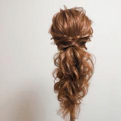 ロング ポニーテールアレンジ ヘアアレンジ フェミニン ヘアスタイルや髪型の写真・画像