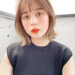 インナーカラー ボブ 外ハネボブ 韓国ヘア ヘアスタイルや髪型の写真・画像