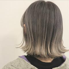 グラデーションカラー グレージュ ガーリー ハイライト ヘアスタイルや髪型の写真・画像