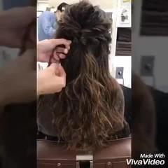 ロング パールアクセ ハーフアップ ヘアピン ヘアスタイルや髪型の写真・画像