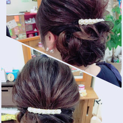 セミロング シニヨン フェミニン 大人女子 ヘアスタイルや髪型の写真・画像