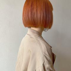 ボブ ミニボブ オレンジ ストリート ヘアスタイルや髪型の写真・画像
